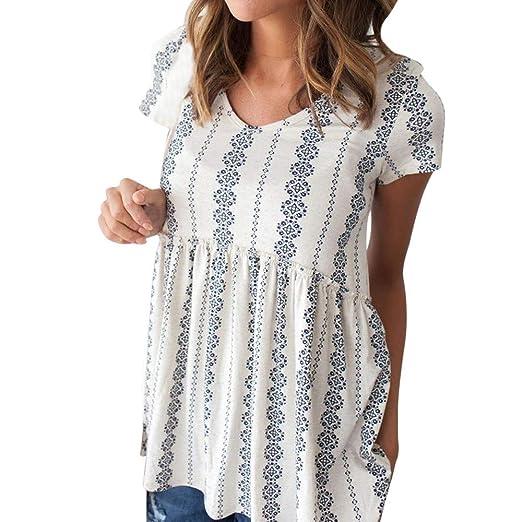 cac80da448 Amazon.com  DIMANUL ♥ Women Plus Size Chiffon Print V Neck Short Sleeve  Shirt Loose Casual Blouse Top Summer Gray Teen Girls  Clothing