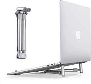 "Dream-C Portable Laptop Support Stand, Cooling Heat Elimination Adjustable X-Stand Folding Aluminum Stand Support Compatible with MacBook, Laptop Riser for PC, Notebooks 12""-17"" Screen(Silver)"