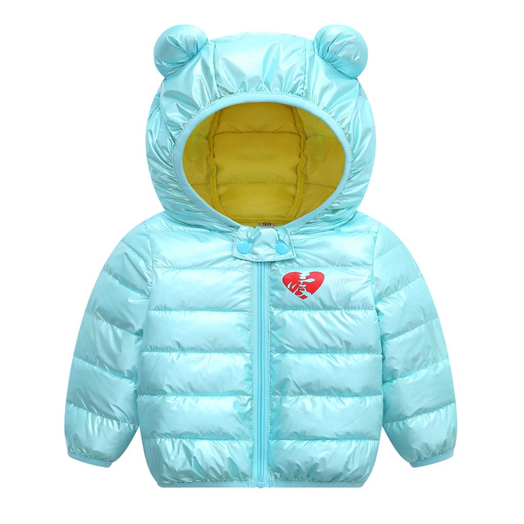 Toddler Baby Boys Girls Winter Down Jacket Love Heart Printed Warm Coat Outwear Children Clothes (2-3 Years, Mint Green) by Cotonie