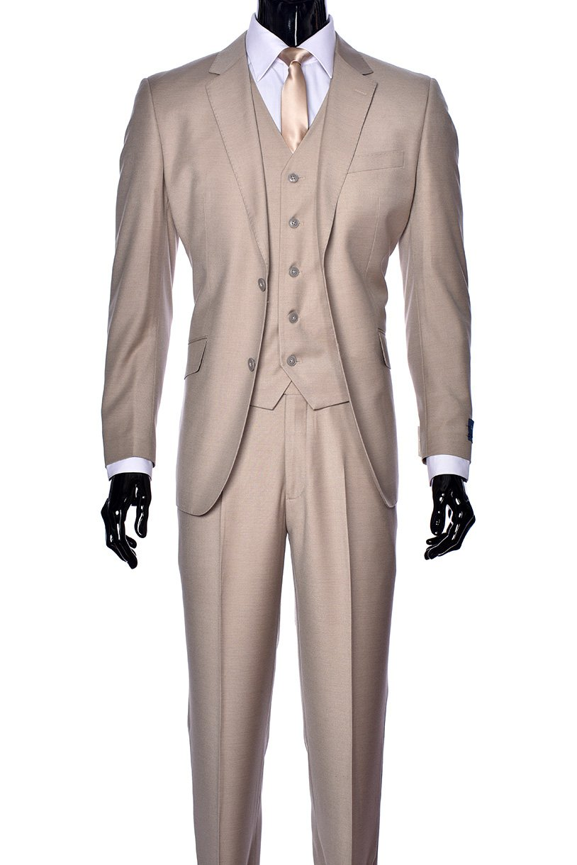 King Formal Wear Elegant Men's Modern Fit Three Piece and Two Piece Two Button Suits - Many Colors (44 Regular, 100% Wool Tan)…
