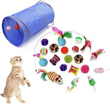 QIMMU Juguetes para Gatos, 21 Piezas Juguete Interactivo para Gatos Kitty,Mascota Gato Captura Juguetes De Entrenamiento, Juguetes Interactivo Ratón y Bolas Varias: Amazon.es: Productos para mascotas