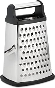 Professional Box Grater, 4-Sided Stainless Steel Large 10-inch Grater for Fruits, Nuts, Parmesan Cheese, Ginger, Vegetables Dishwasher safe