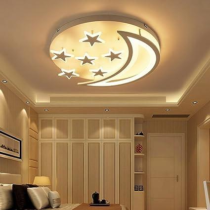 MILUCE Creative Stars Moon Ceiling Lantern Simple Modern LED Bedroom  Ceiling Light Living Room Childrenu0027s Room