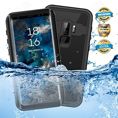 EFFUN Samsung Galaxy S9 Plus Waterproof Case, IP68 Certified Waterproof Underwater Cover Dust/Snow/Shock Proof Case with Phone Stand, PH Test Paper and Floating Strap for Samsung S9 Plus Black