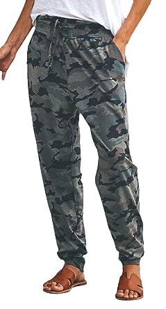 Pantalon Jogging Femme Elégante Vintage Camouflage Pantalon De Sport Large  avec Cordon De Serrage Spécial Style 02d3e7ae901