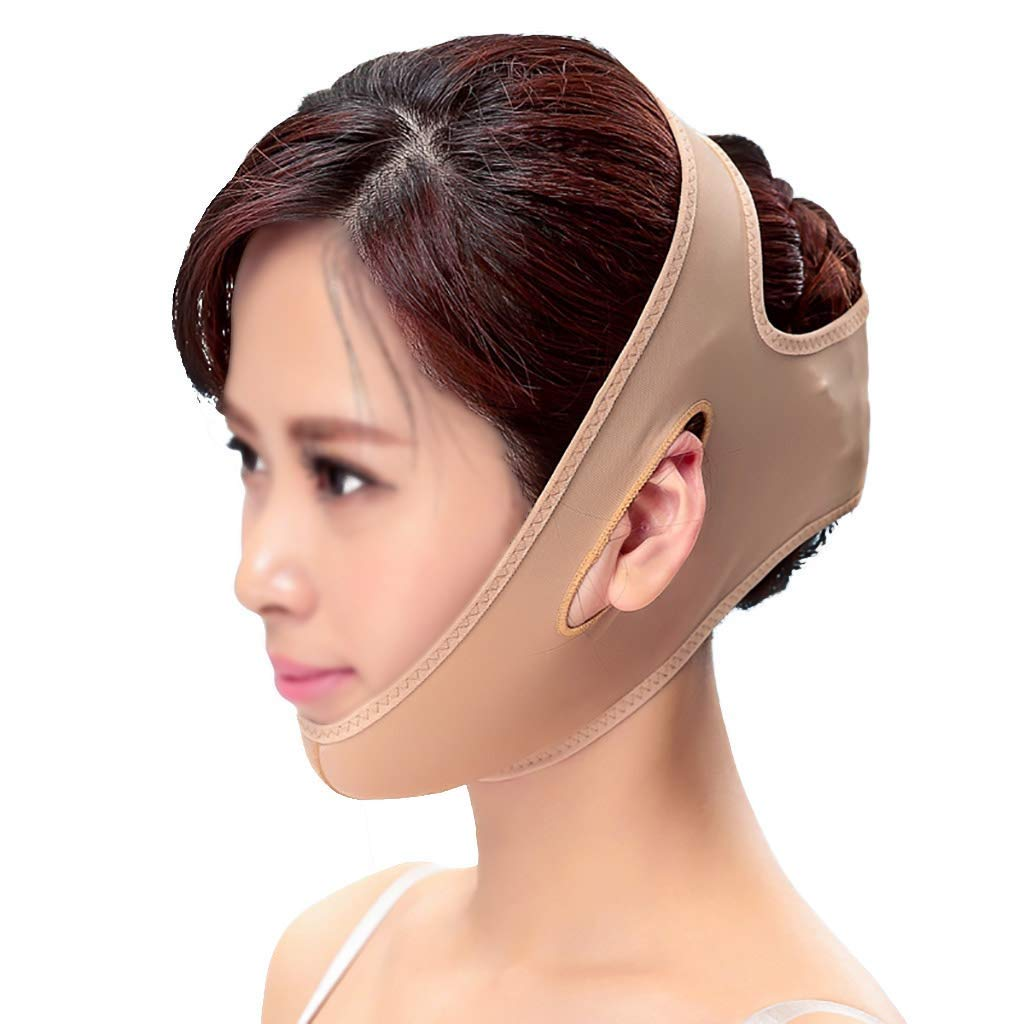 FS Slimming Belt,facial Mask Thin Face Mask Plastic Skinny Face Artifact To Masseter Muscle Double Chin Skin Graft Scar Hyperplasia Band V Face Line Carving Elastic Sleeve (Size : L)