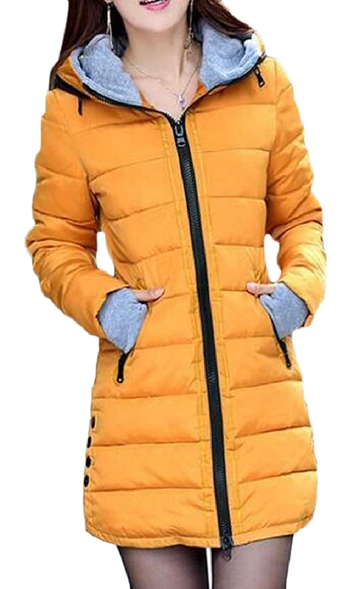 ZXFHZS-CA Women's Winter Quilted Thicken Hooded Thumb Hole Cuffs Down Jacket Coat