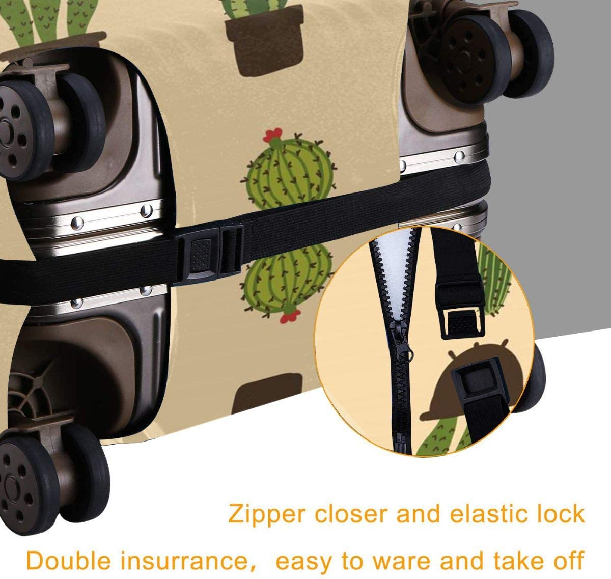 Cactus Potted Plant Zipper Suitcase Protector Luggage with Fixed Buckle Fits 18-32 Inch Luggage XL Yuotry Travel Luggage Cover