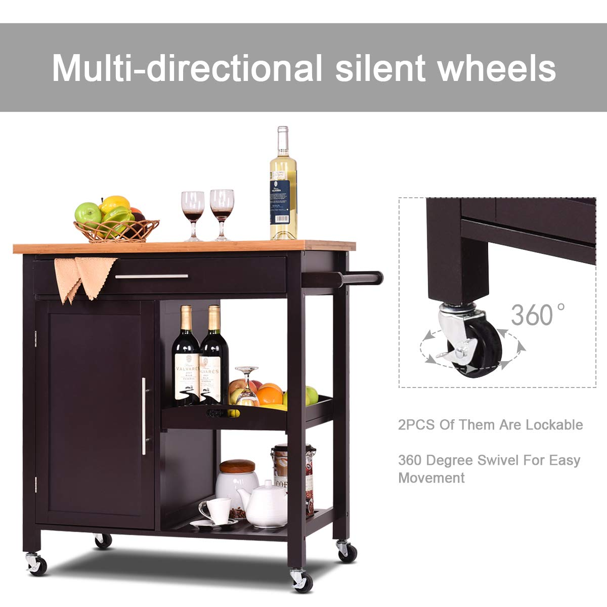 Giantex Kitchen Trolley Cart Wood Rolling Island Cart Home Restaurant Kitchen Dining Room Serving Utility Cart w/Bamboo Top Storage Cabinet Bigger Drawer Removable Tray Shelf, Brown by Giantex (Image #4)