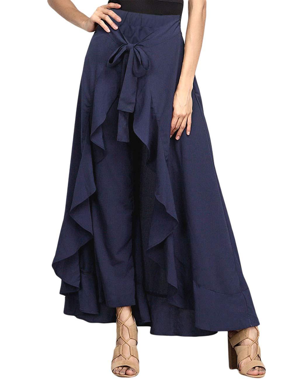 MuCoo Women's Solid Ruffle Wide Leg Tie-Waist Palazzo Pant Overlay Maxi Skirts Muc-CA-LC77034