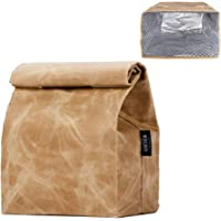 Updated Waxed Canvas Lunch Bag, Waterproof Lunch Box with 2 Magnetic Buckles, Isolate Lining Inside, Reusable Lunch Bag…