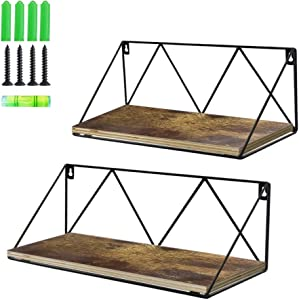 EdenseeLake Floating Wall Shelves Set of 2, Wood Storage Shelf with Metal Brackets for Bedroom, Bathroom, Living Room, Kitchen and Office