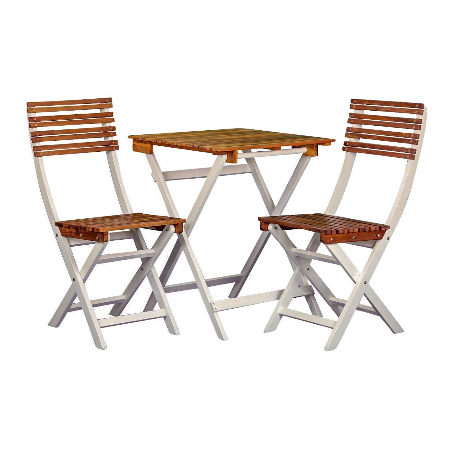DTY Outdoor Living South Park 3-Piece Acacia Outdoor Patio Cafe Bistro Set with Square Folding Table and 2 Chairs, Natural Oil and White Finish
