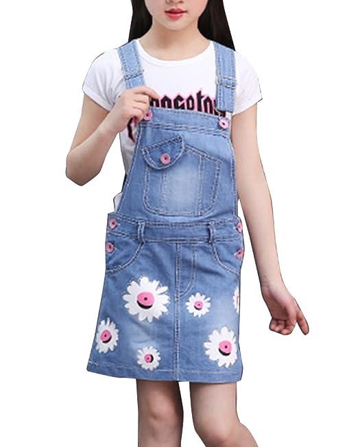 GladiolusA Niñas Conjunto Vestidos De Vaquera Verano Ropa Vestido De Mezclilla Para Bebés + Camisetas De Manga Corta Azul 150CM: Amazon.es: Ropa y ...