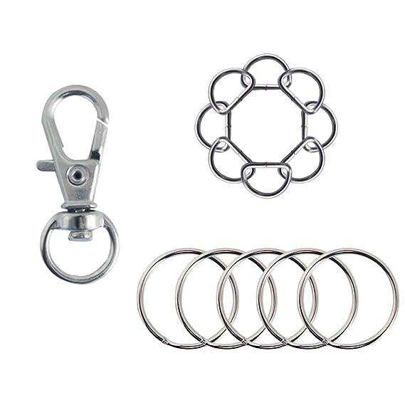 Gnognauq 25pcs Swivel Hooks Key Buckles 25pcs Keyrings 50 mini Suede Tassel for Tassel Keychain Making Craft