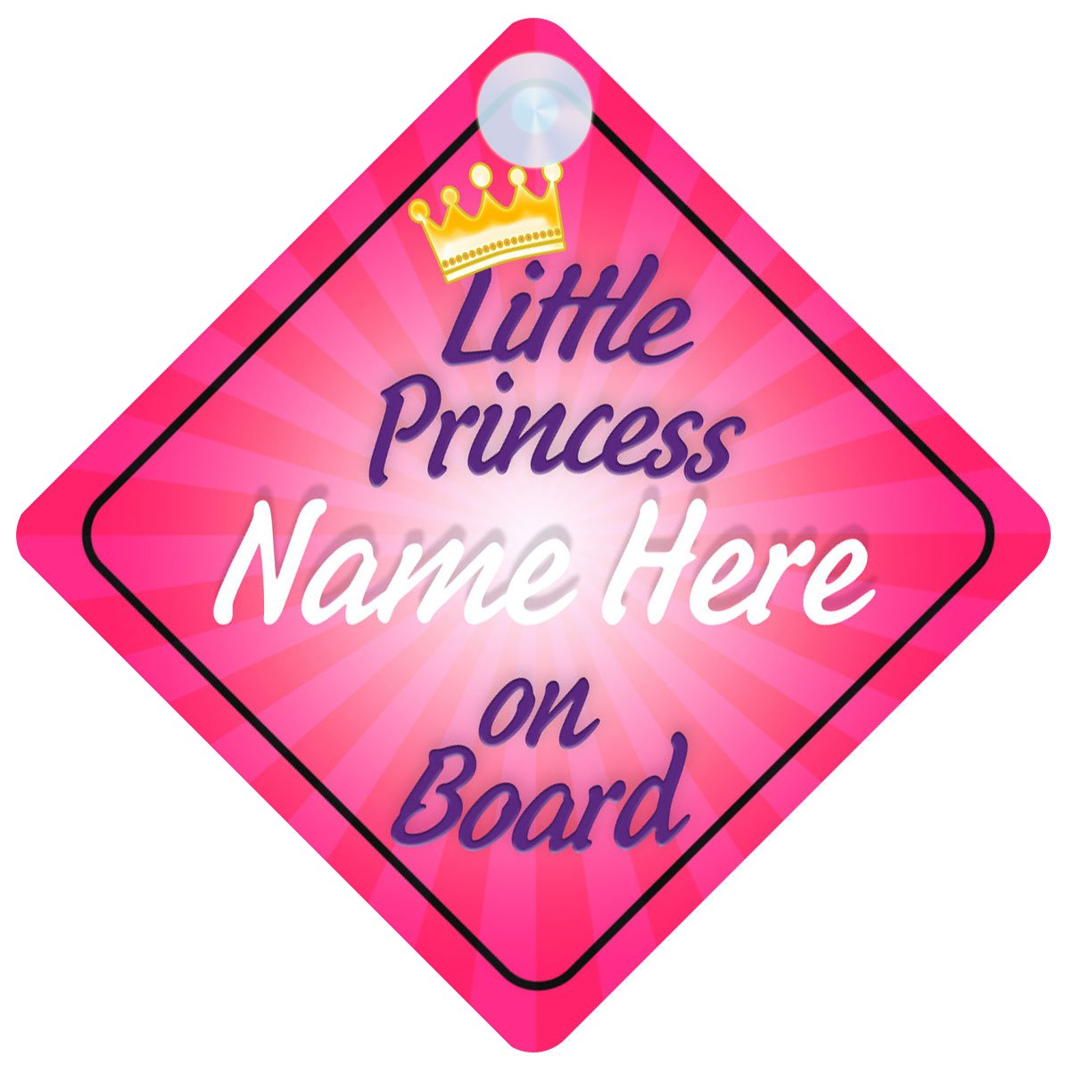 Princess On Board Pink with Crown (018) Personalised Car Sign New Baby Girl / Child Gift / Present