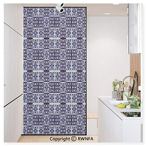 Floral Fusion Square (Window Door Sticker Glass Film,Squares with Portuguese Azulejo Ornaments Arrangement Floral Pattern Leaves Anti UV Heat Control Privacy Kitchen Curtains for Glass,30 x 59.8 inch,Navy Blue Beige)