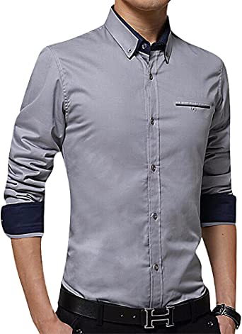 YUNY Mens Lapel Warm Long Sleeve Buttons Flannel Printing Thicken Dress Shirt AS7 3XL
