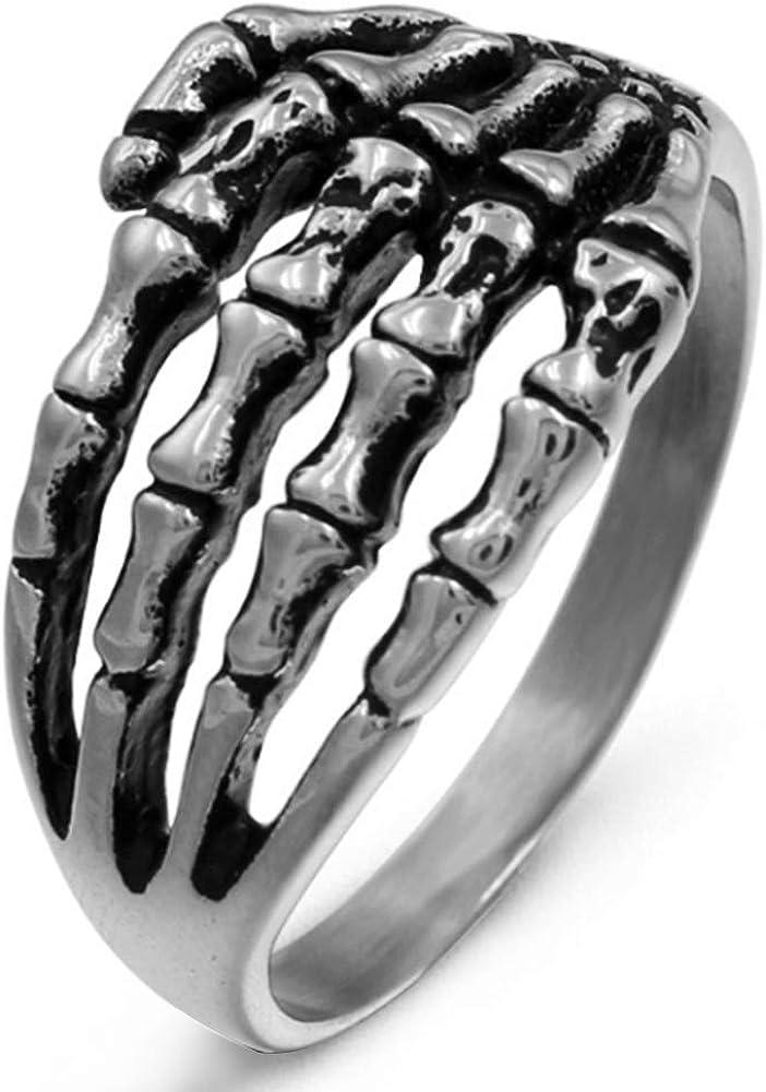 Stainless Steel Punk Retro Skeleton Hand Skull Bone Hand Ring Pinky Ring for Men
