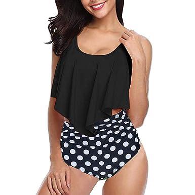 Kanlin1986 Trajes de Baño Mujer 2019 Dos Piezas Bikini Estampado Tropical Tankini Deportivo Banador Sexy Natacion Conjunto Biquinis Lunares