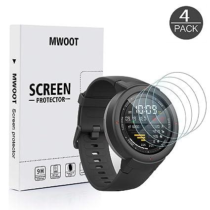 MWOOT 4 Unidades Protectores de Cristal Templado para Amazfit Verge Smartwatch, 9H Dureza Resistente a Arañazo Protector de Pantalla para Proteccion ...