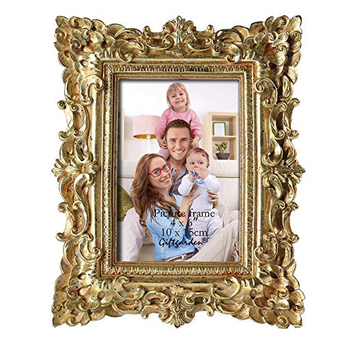 Gift Garden Friends Gift Gold Vintage Picture Frame 4 by 6 Inch in Hand Painted for Photo Display 4x6