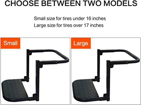IZTOSS Universal 286 Lbs Tire Step for Pickup SUV Big Truck Tire Mounted Auto Step Dually Sturdy Climber Step Max 9.05-11.02 Tire Width with 22 x 8.46 Pad Black Adjustable Height and Width