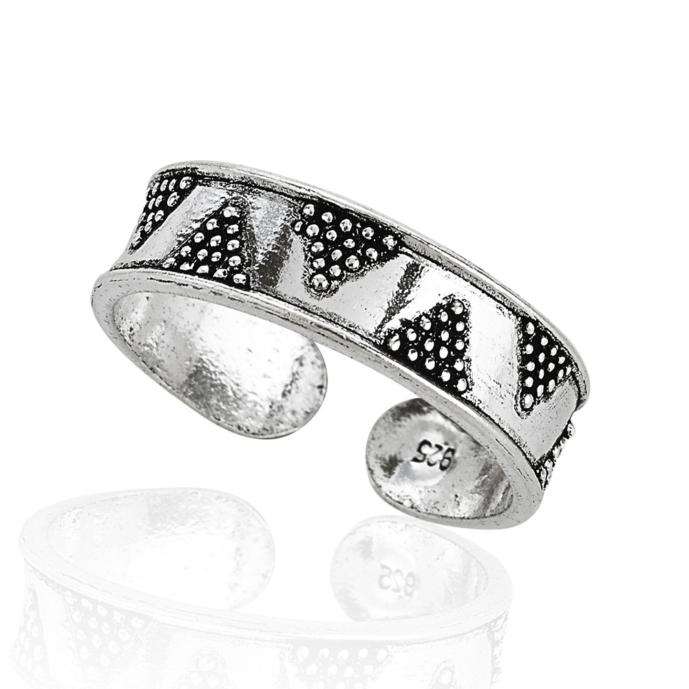 925 Sterling Silver Tribal Geometric Retro Zig Zag Pattern Pen Ended Band Unisex Toe Ring by Chuvora