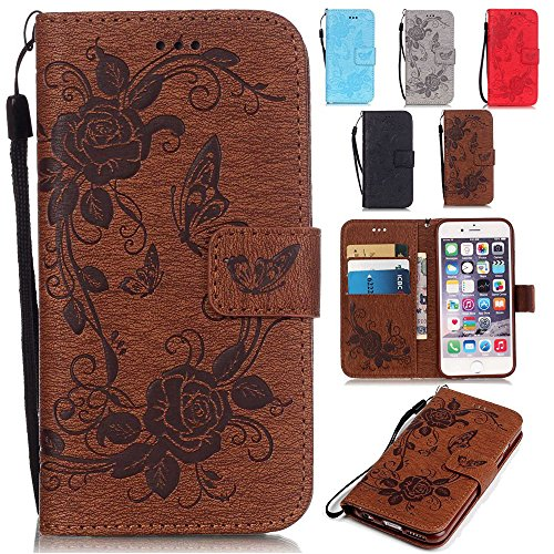 Samsung Galaxy S6 Case,Pop Time Butterfly Embossing Magnetic Premium PU Leather Wallet Case Flip Stand For Samsung Galaxy S6 with Wrist Strap (Brown)