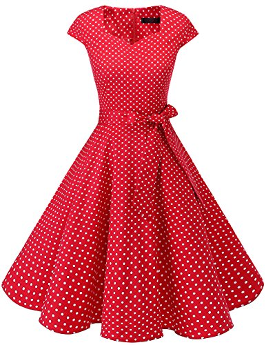 DRESSTELLS Retro 1950s Cocktail Dresses Vintage Swing Dress with Cap-Sleeves Red Small White Dot M