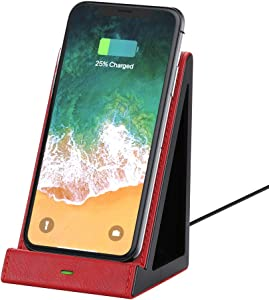 GORESE Fast Wireless Charging Stand, Single Wireless Charger with QI Standard, Wireless Charging Station for iPhone, Samsung and Other QI-Enabled Devices, 10W/7.5W/5W Wireless Charging Dock (Red)