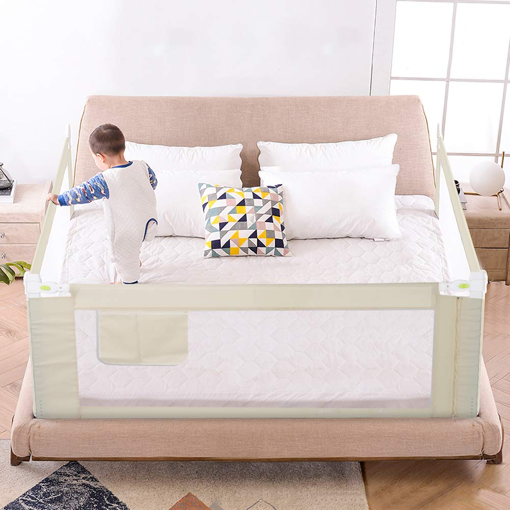 | in Gr??en und Farbwahl L:1.5M*H:68CM Babybettgitter Gitter Klappbares Bettgitter Rausfallschutz Kinderbettgitter Bettschutzgitter