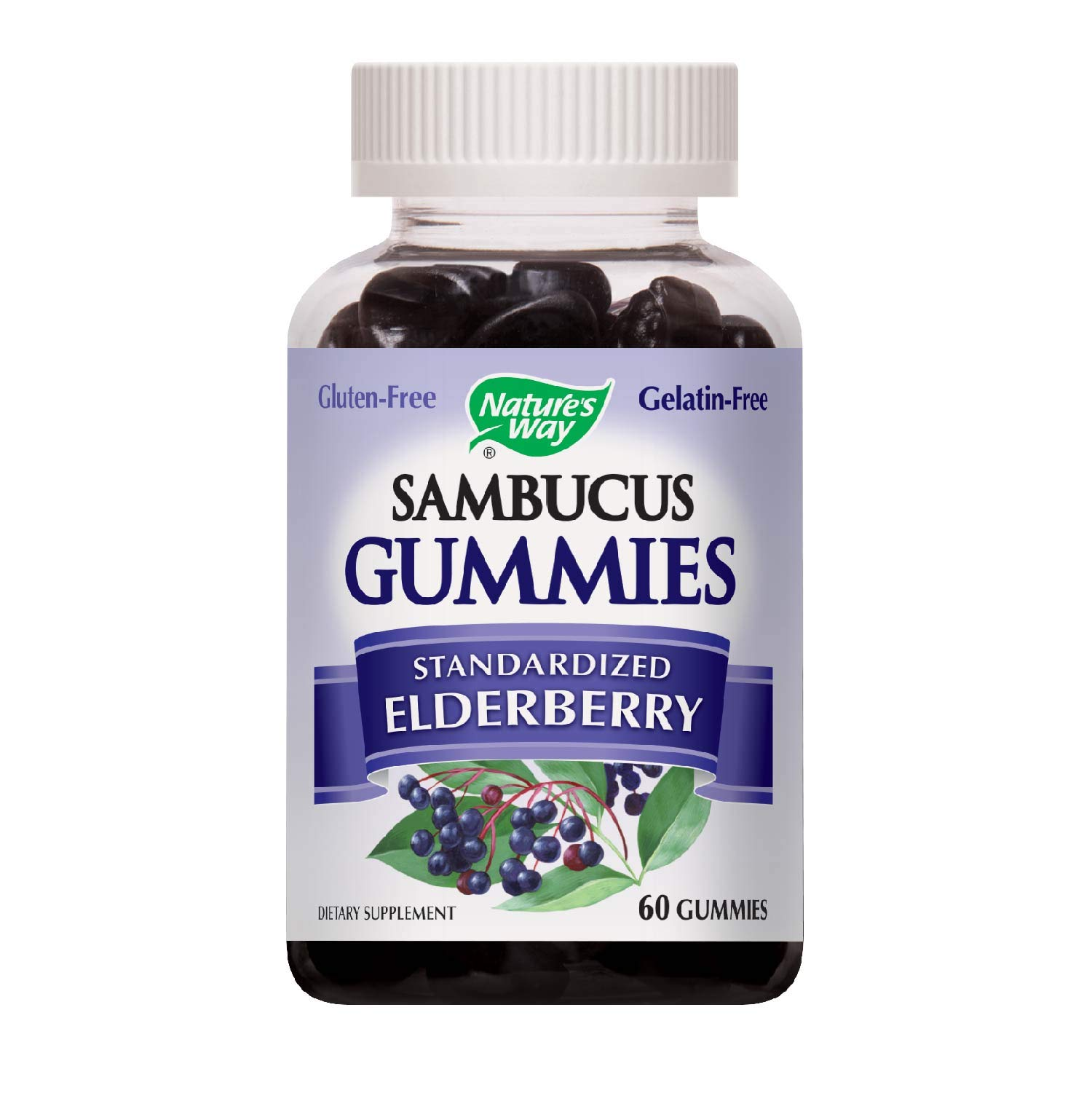 Natures Way Sambucus Elderberry Gummies, Herbal Supplements with Vitamin C and Zinc, Gluten Free