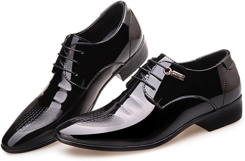 HYF Mens Shoes Uneven Upper PU Leather Lace Up Pointed Toe Breathable Lined Oxfords Dress Shoes Business Shoes for Men