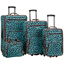 Rockland Jungle Softside Upright Luggage Set, Blue Leopard