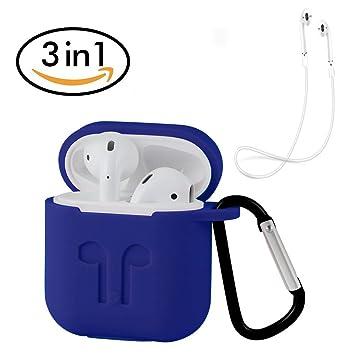 ontube carcasa de silicona con correa de deporte para Apple Airpods (Azul): Amazon.es: Electrónica
