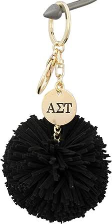 A-List Greek Alpha Sigma Tau Pom Tassel Keychain Sorority Key Chain with Laser Engraved Charm