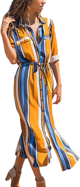 Vestiti Donna Eleganti Maniche Lunghe Chiffon a Righe Camicia Stampa Maxi Abito Casual con Bottoni sul Davanti chuangminghangqi