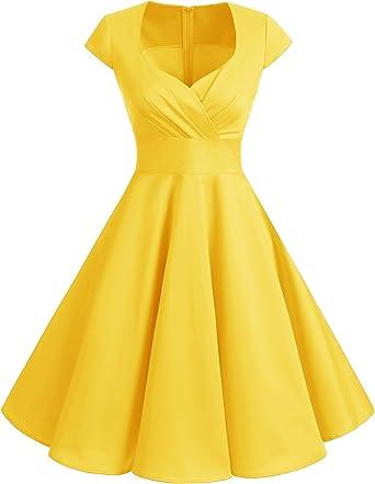 TALLA M. Bbonlinedress Vestido Corto Mujer Retro Años 50 Vintage Escote Yellow