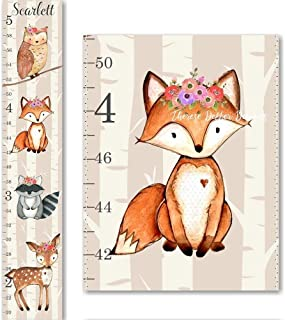 Woodland Fox Raccoon Owl and Deer Floral Flowers Canvas Girls Growth Chart