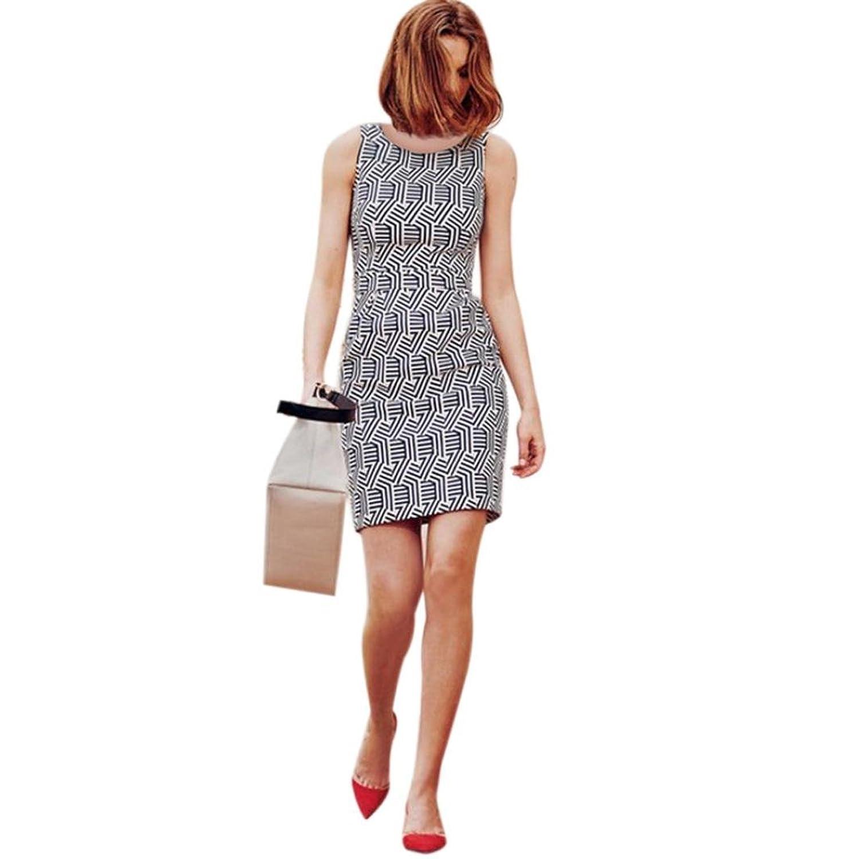 Frauen Kleid,Xinan Frauen-Sommer-Druck-Sleeveless Partei-Abend-Kurzschluss -Minikleid