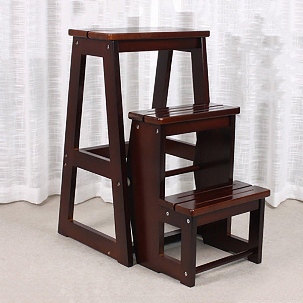 はしご便 3層折り畳み可能なはし台スツール木製ベンチ多機能ポータブル階段スツール (色 : 白) B07F3HDZMJ 白 白
