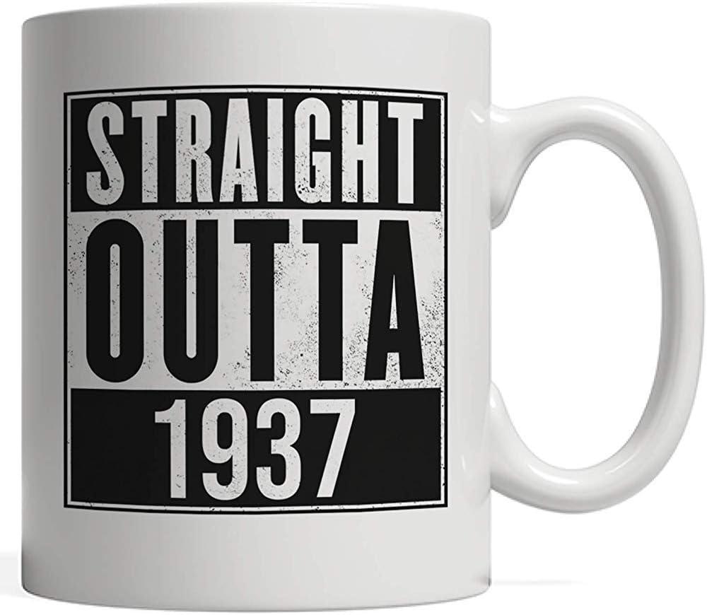 Taza recta Outta 1937 Taza | Divertido 82 regalo de cumpleaños ochenta y dos años cumpleaños y aniversario - Old School Urban Hip Hop y Street Gangsta Rap