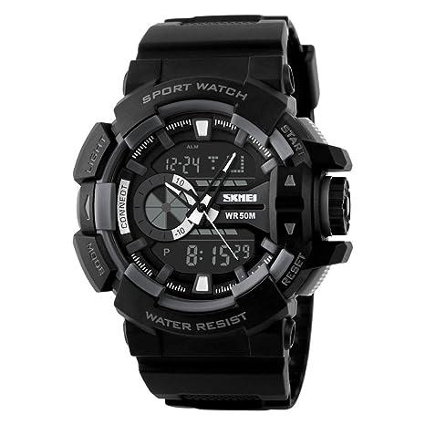 SKMEI Herren Quartz Digitales Dualzeit Dualzeit Armbanduhr PU Leder Watch Wasserdicht Sportuhr