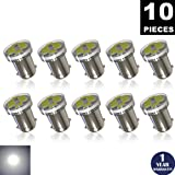 LUYED 10 x 100LM 12v Super Bright 3014 8-EX Chipsets Lens BA9 BA9S 53 57 1895 64111 LED Bulbs Used For Side Door Courtesy Lights Map Lights,Xenon White(low current)