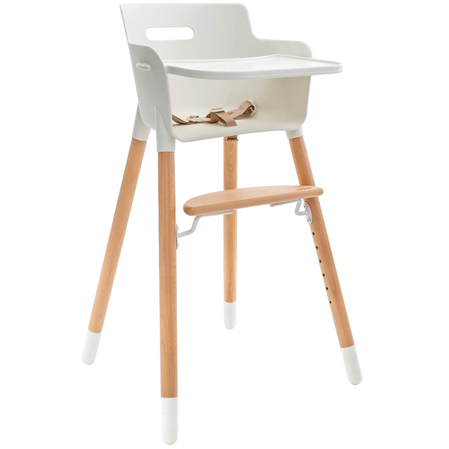 WeeSprout Wooden High Chair for Babies & Toddlers | 3-in-1 High Chair/Booster/Chair | Grows with Your Child | Adjustable Footrest/Legs | Removable Tray/Armrest | Modern Wood Design