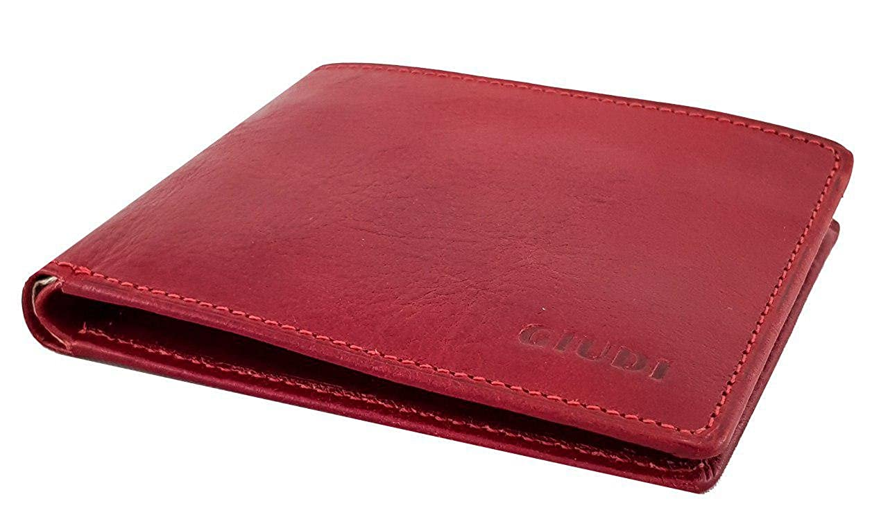 Giudi Small Size Stilish Red Slimfold Mens Wallet 8 Card Holder with Gift Box Classic Elegant Italian Design