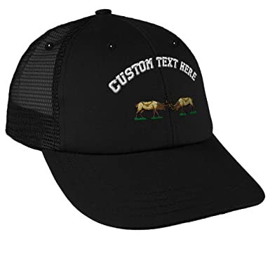 a878eb82b72 Custom Text Embroidered Fighting Elk Unisex Adult Snaps Cotton Low Crown  Mesh Golf Snapback Hat Cap