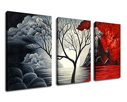 Extra Large Cloud Tree Abstract Painting Canvas Prints Wall Art Decor Framed 30x60 Inch 3 Panel Contemporary Giclee Art Reproductions Modern