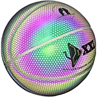 lzndeal Balón de Baloncesto Luminoso, Baloncesto Callejero, Interior/Exterior, Duradero, Luminoso, Juego Nocturno, Calle, luz arcoíris, Herramienta de Entrenamiento para niños